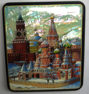 130x150mm Moscow Snt Basil Cathedral and Red Square hand painted papier-mache lacquered Jewelry Box (by Tatiana Crafts)