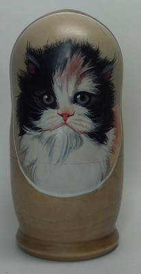 160mm Cat hand painted Matryoshka 5pcs (by Alexander Famous Paintings))