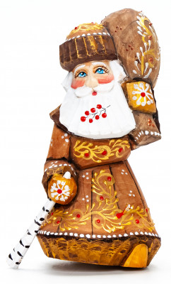 130 mm Santa with a Bag Carved Wood Hand Painted Collectible Figurine  (by Natalia Nikitina Workshop)