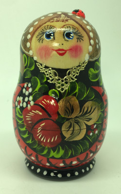 80 mm Khokhloma hand painted Matryoshka Doll 10 pcs (by Valentina Khokhloma)