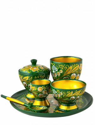 Russian hand painted wooden Set of Butter Bowl with the Egg Stand and two Glasses on a Tray (by Golden Khokhloma)