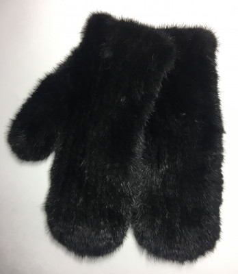 Black Mink Knitted Gloves (by Skazka Furs)