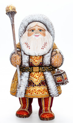 310 mm Santa Claus with a Magic Staff and a Lamp handpainted Wooden Carved Statue (by Natalia Nikitina Workshop)
