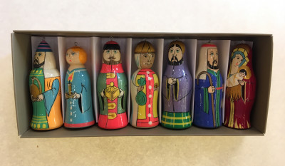 Adoration of the Magi hand carved and painted Wooden Figures Christmas Tree Ornaments set of 7 pcs
