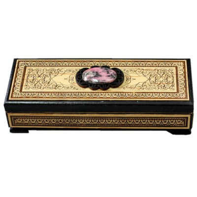 160x60 mm Siberian Patterns hand made Birchbark Jewelry Box with Rhodonite stone (by Birch Gifts)