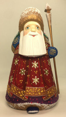 160 mm Santa Claus with a Christmas tree and a Bag of Gifts Carved Wooden Figure hand-painted (by Igor Wooden Carvings Studio)