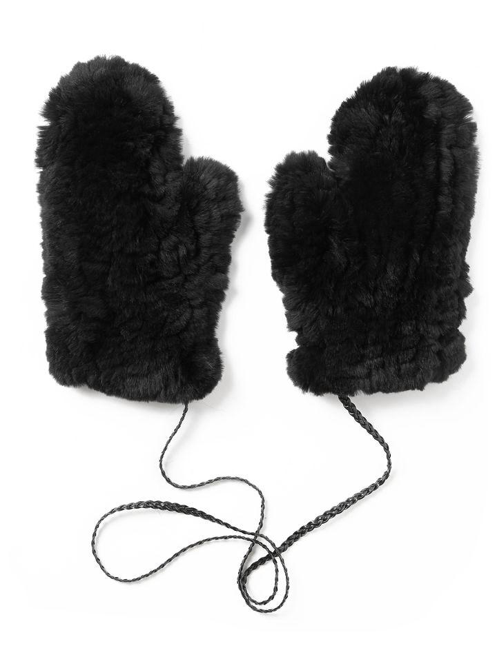 U Knitted Rabbit Fur Gloves