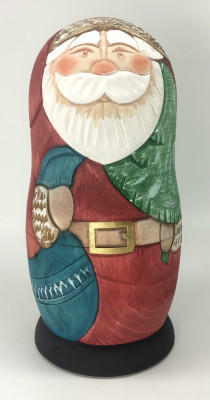 160 mm Santa Claus Hand Carved and Painted Matryoshka Doll 3 pcs inside (by Sergey Carved Wooden Dolls Studio)