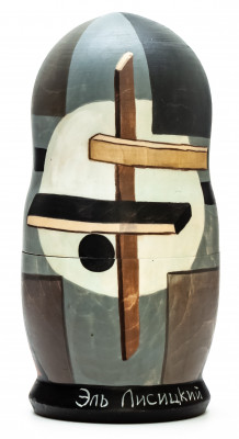 180 mm Proun R.V. N. 2 by Lissitzky hand painted on wooden Matryoshka doll 5 pcs (by Alexander Famous Paintings Studio)