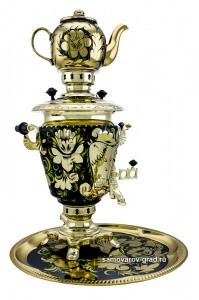 Golden Rooster Hand Painted Electric Samovar Kettle with Teapot and Tray