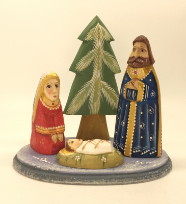Nativity Set of 3 handpainted Carving Wooden Figures and Tree on oval basement Ludmila Christmas Gifts