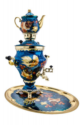 Phoenix Hand Painted Electric Samovar Kettle with Teapot and Tray