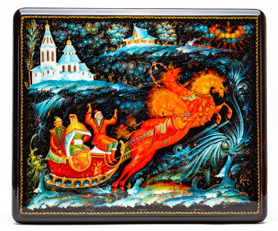 310x270mm Russian Troika hand painted lacquered box from Palekh (by Pavel Studio)