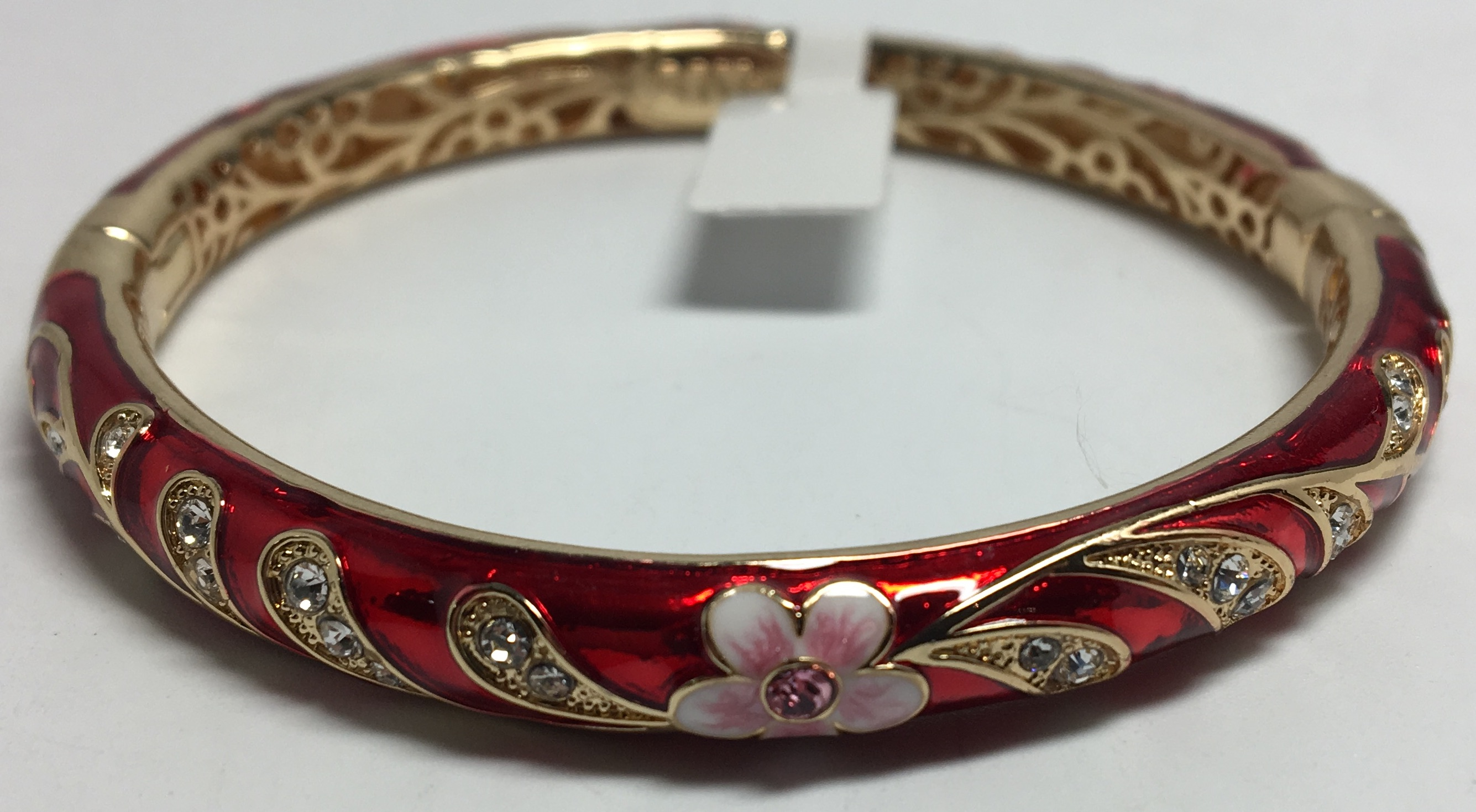 Pink Flower Red Bracelet with Enamel (by AKM Gifts)