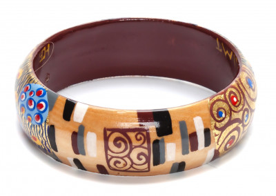 80x16 mm The Kiss by Klimt hand painted on wooden Bracelet (by A Studio)