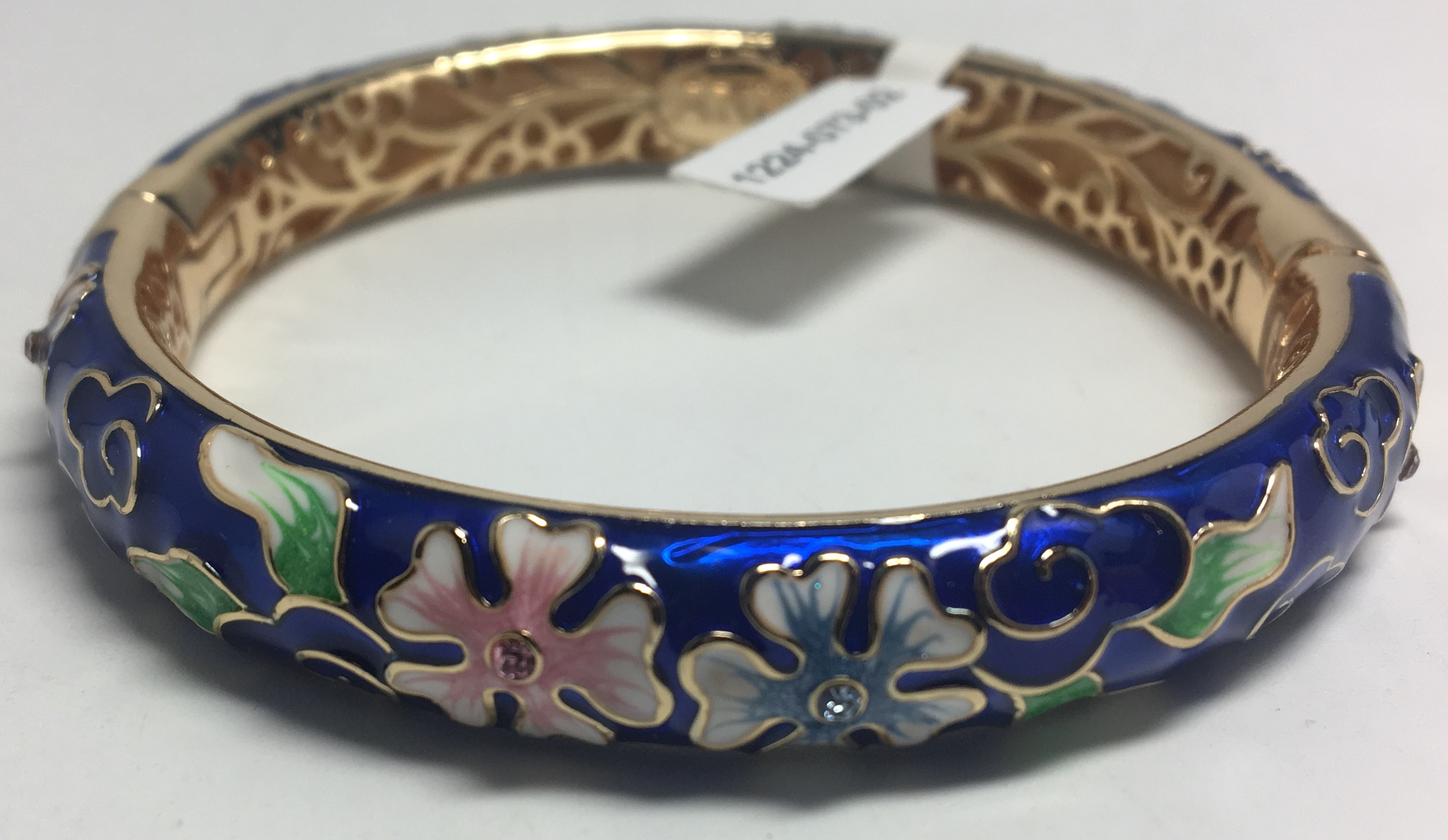 Quintuple Leaf Blue Bracelet with Enamel (by AKM Gifts)