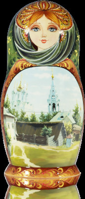 220 mm Russian landscape painting Of Polenov on wooden Matryoshka doll 7 pcs (by Natalia Crafts)