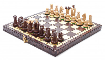 290x290 mm Hand Carved Chess Pieces on Inlaid Wood Board Box (by Alexander Chess Studio)