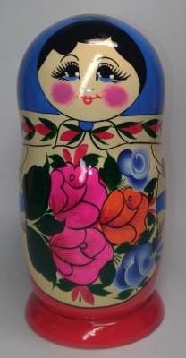 230 mm Blue Head Semenovskaya handpainted wooden Matryoshka Doll 9 pcs (by Ivan Studio)