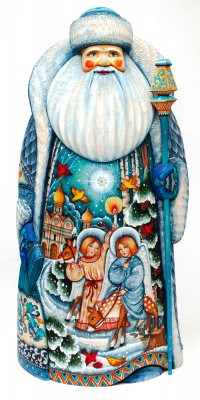 320 mm Santa Claus Hand Carved Wooden Statue with painted picture Angels welcoming Christmas  (by Sergey Christmas Workshop)