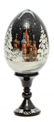 130 mm Saint Basil Cathedral in Summer wooden Egg on stand