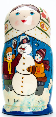 180mm Children making a Snowman hand painted Matryoshka round Doll 5pcs (by A Studio)
