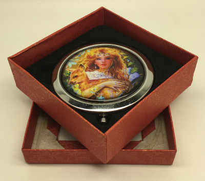 Compact Mirror with Girl and Baby Deer