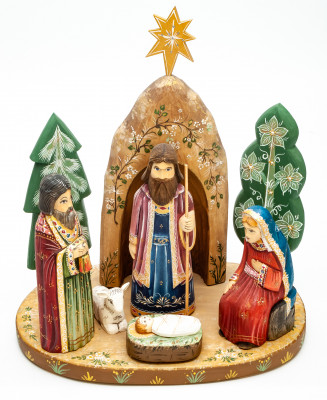 Nativity Set of 8 handpainted Carving Wooden Figures