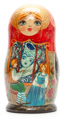 160 mm The Snow Queen hand painted on Wooden Matryoshka doll 5 pcs (by Valeria Crafts)