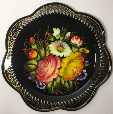 d 220 mm Zhostovo Patterns hand painted and lacquered Metal Forged Tray (by Lada Crafts)