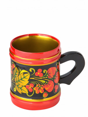 90x75 mm Khokhloma hand painted wooden Mug (by Golden Khokhloma)