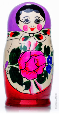 130 mm Violette Head Semenovskaya handpainted wooden Matryoshka Doll 6 pcs (by Ivan Studio)