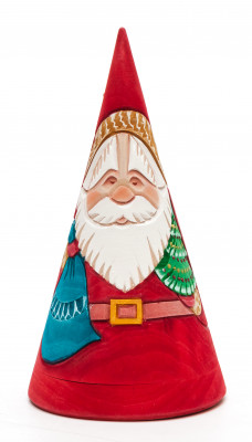 150 mm Santa Claus Hand Carved and Painted Matryoshka Pyramide shape 3 pcs inside (by Sergey Carved Wooden Dolls Studio)