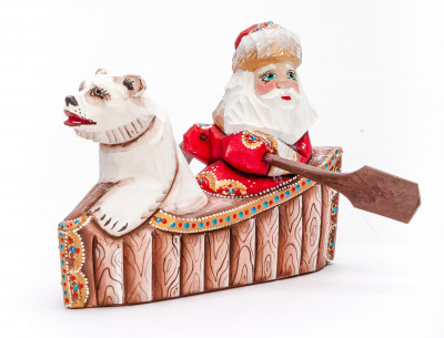 120 mm Santa with a Bag sailing a Boat with a Bear Carved Wood Hand Painted Collectible Figurine (by Igor Carved Wooden Figures Studio)