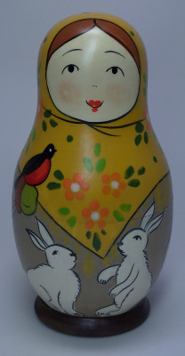 110 mm Mistress with Hares hand painted Traditional Russian Wooden Matryoshka doll 5 pcs (by Igor Malyutin)