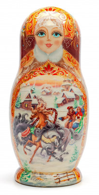 200 mm Russian Winter Troika hand painted Wooden Matryoshka doll 5 pcs (by A Studio)