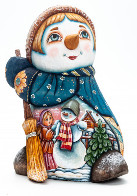 190 mm Snowman with a Girl Making a Snowman wooden figurine (by Natalia Nikitina Workshop)