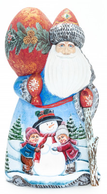 210 mm Santa with a Magic Staff and a Bag with handpainted Children making a Snowman Wooden Carved Statue (by Igor Carved Wooden Figures Studio)