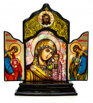 110x140mm Kazanskaya Godmother handpainted on nacre Icon (by Galina Studio)