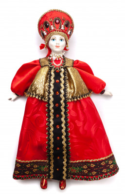 The Girl in a Red Dress hand-sewn Porcelain Doll - 16 Inches