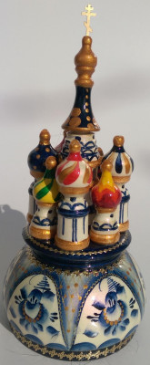 190 mm Saint Basil's Cathedral Gzhel Art hand painted Wooden Music Box (by Nightingale Crafts)