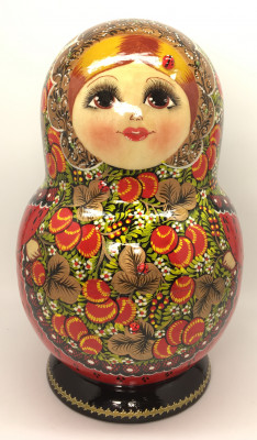 250 mm Khokhloma Ornaments hand painted Matryoshka doll 15 pcs (by Raissa)