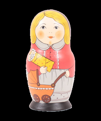 160 mm Russian Family Milutinskaya nesting doll Matryoshka 5 pcs (by Sergey Malyutin)