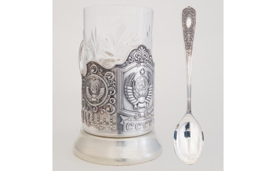 State Emblem of USSR Silver Plated Brass Tea Glass Holder with Faceted Glass and Silver Plated Spoon (by Kolchugino)
