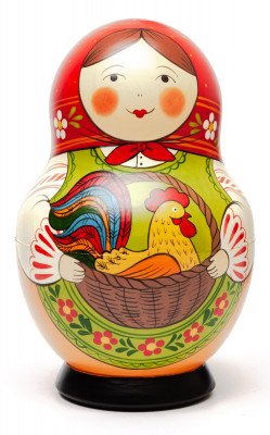190 mm Maiden with the Basket with Cockerel inside hand painted Traditional Russian Wooden Matryoshka round doll 10 pcs (by Sergey Malyutin)