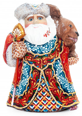 220mm Santa Claus with a Bear and a Magic Staff handpainted Wooden Carved Statue (by Natalia Nikitina Workshop)