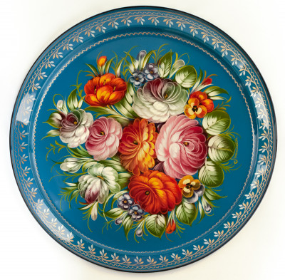 d 385 mm Zhostovo Patterns hand painted and lacquered by Anismova Metal Forged Tray (by Lada Crafts)
