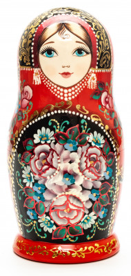180 mm Zhostovo tall hand painted Russian Matryoshka doll 5 pcs (by A Studio)