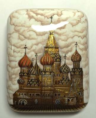 95х75 mm Moscow Snt Basil Cathedral hand painted papier-mache lacquered Jewelry Box (by Tatiana Crafts)
