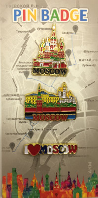 Moscow Famous Buildings and I LOVE MOSCOW set of 3  Metal Pins (by AKM Gifts)